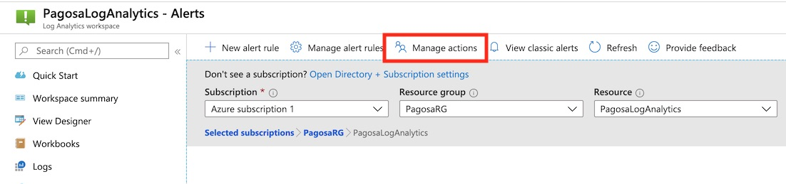 Alerts Manage Actions