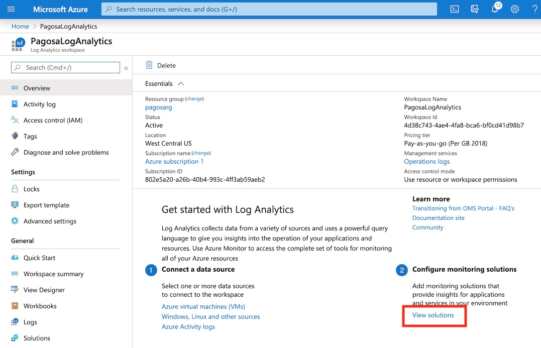Log Analytics View Solutions