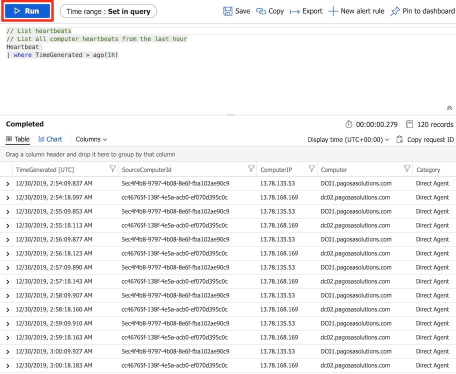 log analytics heartbeat query